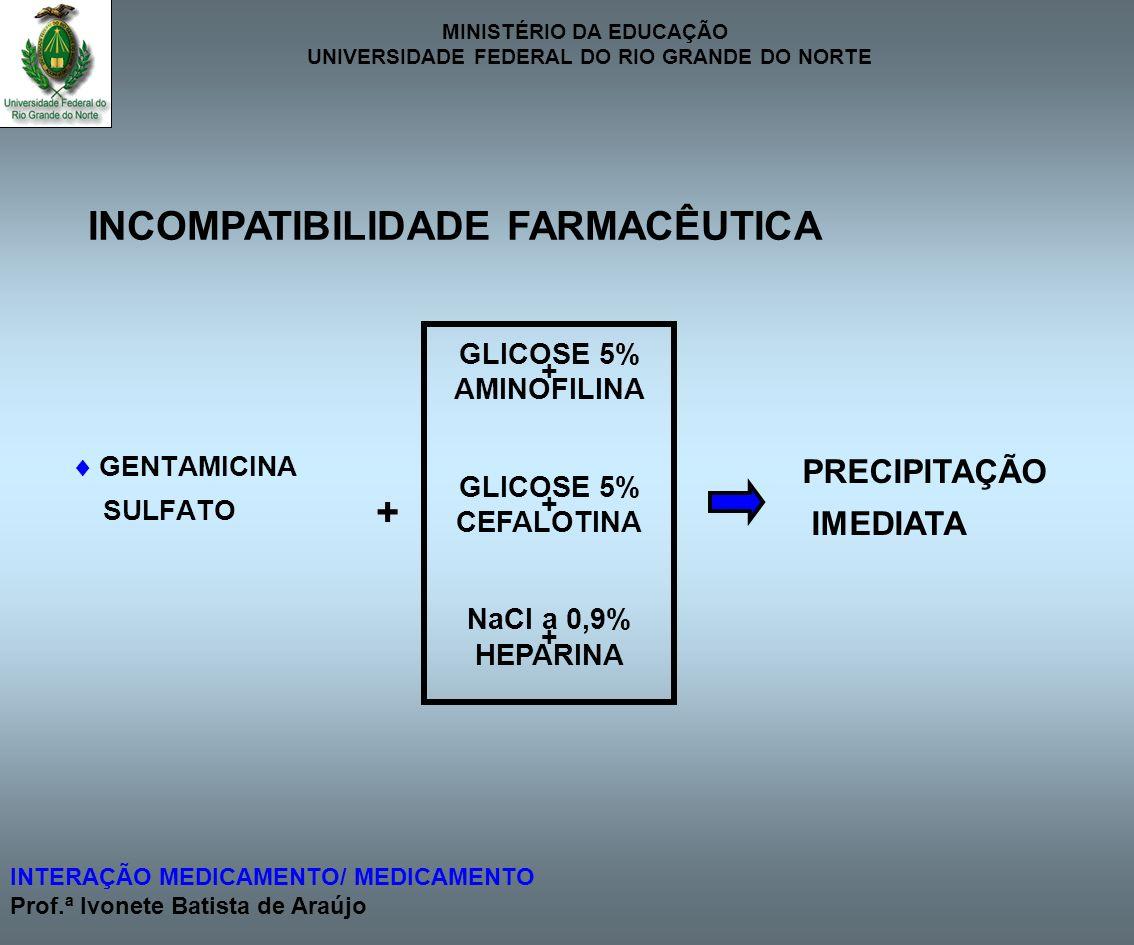 MINISTÉRIO DA EDUCAÇÃO UNIVERSIDADE FEDERAL DO RIO GRANDE DO NORTE INTERAÇÃO MEDICAMENTO/ MEDICAMENTO Prof.ª Ivonete Batista de Araújo GENTAMICINA SUL