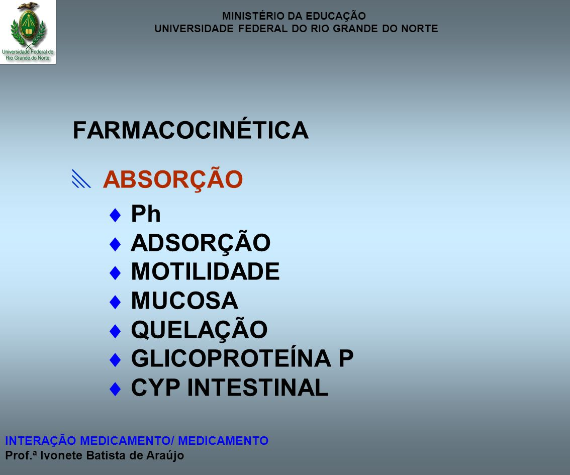 MINISTÉRIO DA EDUCAÇÃO UNIVERSIDADE FEDERAL DO RIO GRANDE DO NORTE INTERAÇÃO MEDICAMENTO/ MEDICAMENTO Prof.ª Ivonete Batista de Araújo ABSORÇÃO ITRACONAZOL PREPARAÇÕES À BASE CETOCONAZOL + DE Al 3+, Ca 2+ ou Mg 2+ ISONIAZIDA FENOBARBITAL Ph BIODISPONIBILIDADE