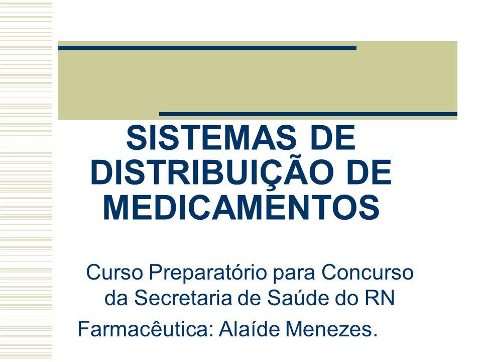 SISTEMAS DE DISTRIBUIÇÃO DE MEDICAMENTOS Curso Preparatório para Concurso da Secretaria de Saúde do RN Farmacêutica: Alaíde Menezes.