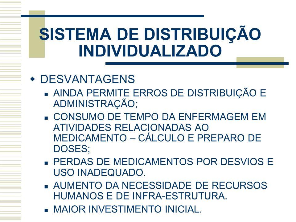 SISTEMA DE DISTRIBUIÇÃO INDIVIDUALIZADO DESVANTAGENS AINDA PERMITE ERROS DE DISTRIBUIÇÃO E ADMINISTRAÇÃO; CONSUMO DE TEMPO DA ENFERMAGEM EM ATIVIDADES