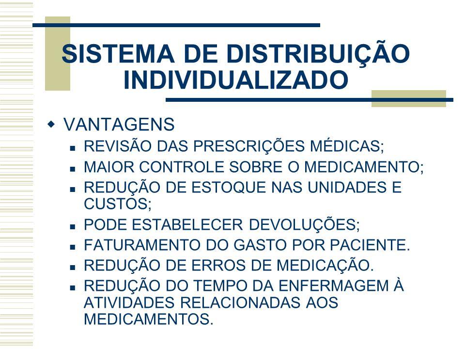 SISTEMA DE DISTRIBUIÇÃO INDIVIDUALIZADO VANTAGENS REVISÃO DAS PRESCRIÇÕES MÉDICAS; MAIOR CONTROLE SOBRE O MEDICAMENTO; REDUÇÃO DE ESTOQUE NAS UNIDADES