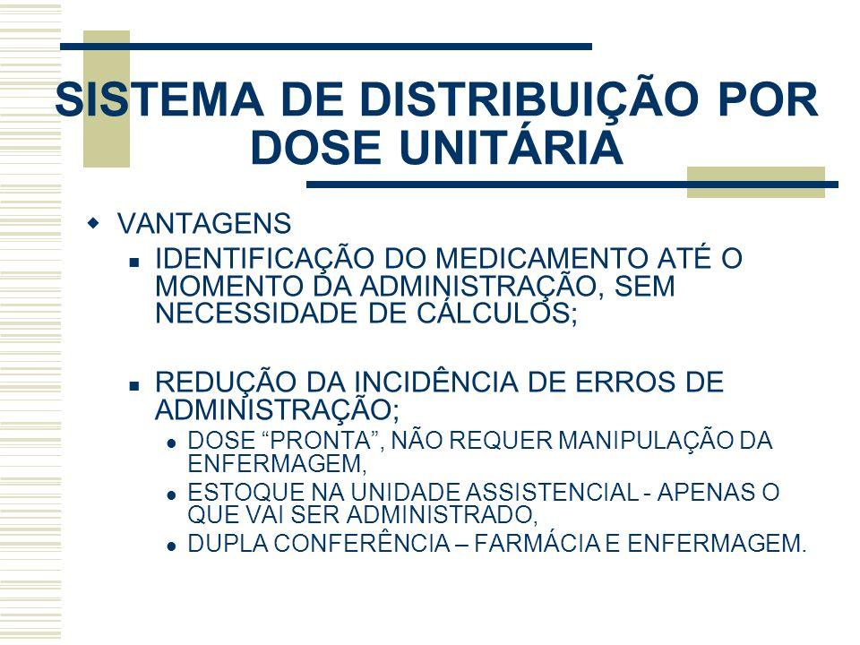SISTEMA DE DISTRIBUIÇÃO POR DOSE UNITÁRIA VANTAGENS IDENTIFICAÇÃO DO MEDICAMENTO ATÉ O MOMENTO DA ADMINISTRAÇÃO, SEM NECESSIDADE DE CÁLCULOS; REDUÇÃO