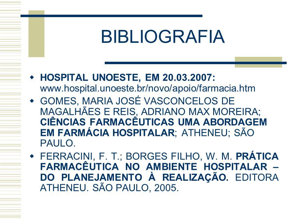 BIBLIOGRAFIA HOSPITAL UNOESTE, EM 20.03.2007: www.hospital.unoeste.br/novo/apoio/farmacia.htm GOMES, MARIA JOSÉ VASCONCELOS DE MAGALHÃES E REIS, ADRIA
