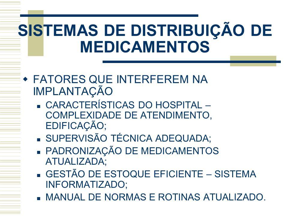 SISTEMAS DE DISTRIBUIÇÃO DE MEDICAMENTOS FATORES QUE INTERFEREM NA IMPLANTAÇÃO CARACTERÍSTICAS DO HOSPITAL – COMPLEXIDADE DE ATENDIMENTO, EDIFICAÇÃO;