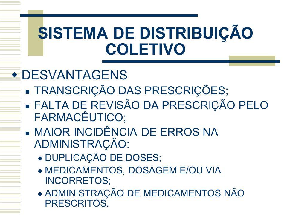 SISTEMA DE DISTRIBUIÇÃO COLETIVO DESVANTAGENS TRANSCRIÇÃO DAS PRESCRIÇÕES; FALTA DE REVISÃO DA PRESCRIÇÃO PELO FARMACÊUTICO; MAIOR INCIDÊNCIA DE ERROS