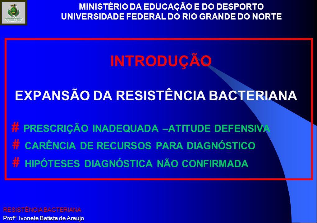 MINISTÉRIO DA EDUCAÇÃO E DO DESPORTO UNIVERSIDADE FEDERAL DO RIO GRANDE DO NORTE RESISTÊNCIA BACTERIANA Profª. Ivonete Batista de Araújo INTRODUÇÃO EX
