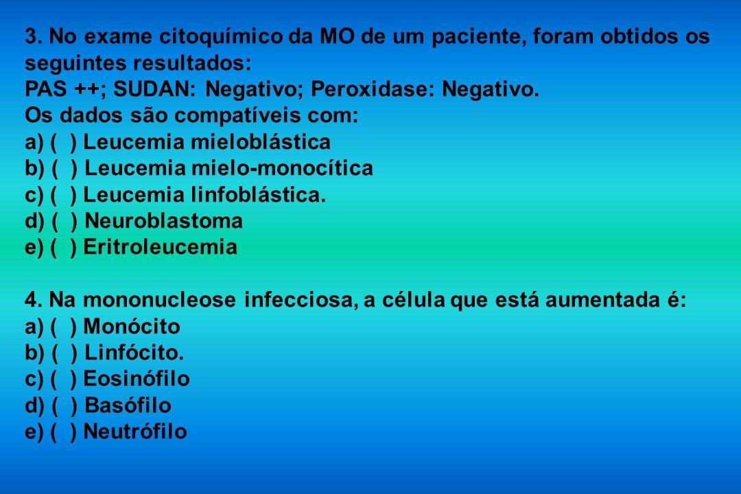 3. No exame citoquímico da MO de um paciente, foram obtidos os seguintes resultados: PAS ++; SUDAN: Negativo; Peroxidase: Negativo. Os dados são compa