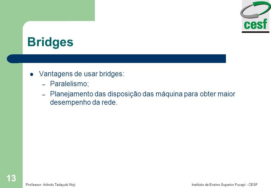 Professor: Arlindo Tadayuki Noji Instituto de Ensino Superior Fucapi - CESF 13 Bridges Vantagens de usar bridges: – Paralelismo; – Planejamento das di