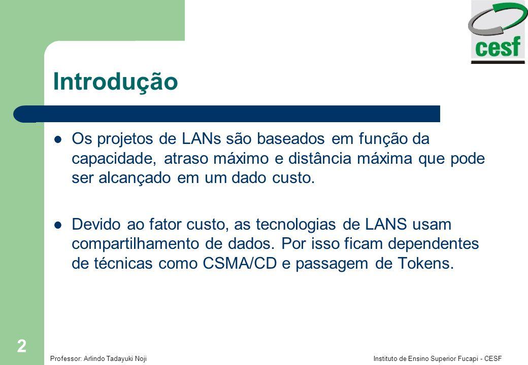 Professor: Arlindo Tadayuki Noji Instituto de Ensino Superior Fucapi - CESF 2 Introdução Os projetos de LANs são baseados em função da capacidade, atr