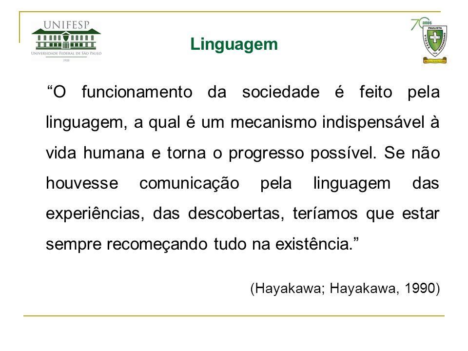 Linguagem O funcionamento da sociedade é feito pela linguagem, a qual é um mecanismo indispensável à vida humana e torna o progresso possível. Se não