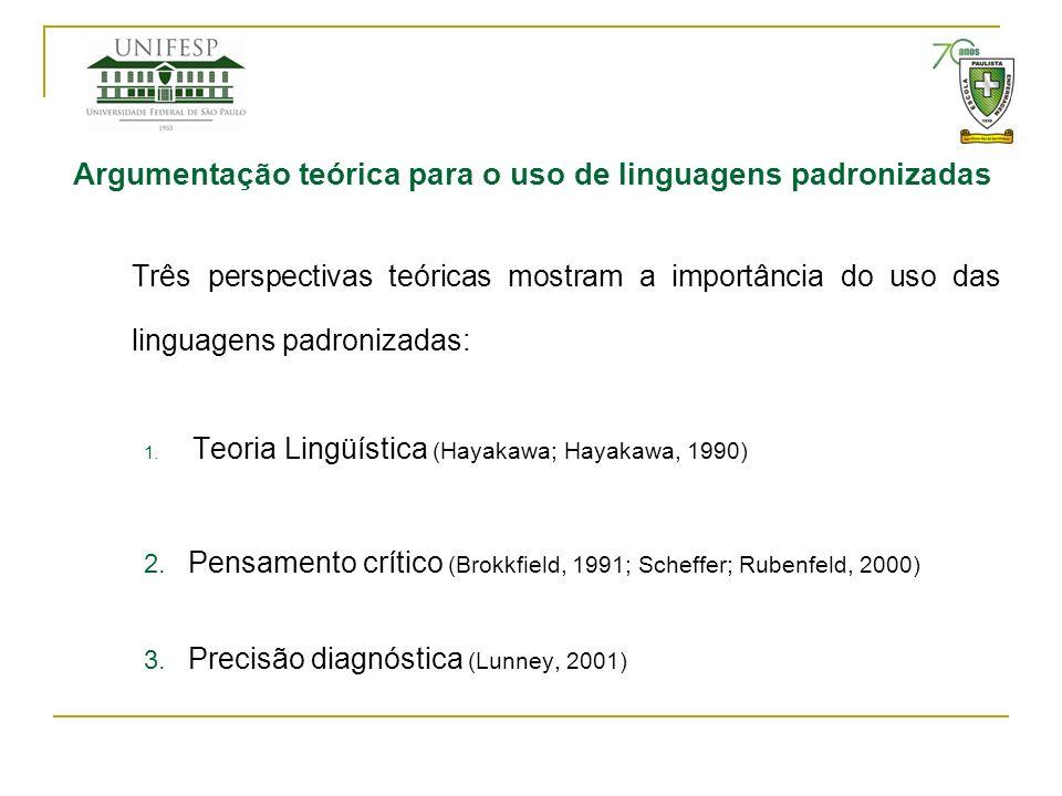 Argumentação teórica para o uso de linguagens padronizadas Três perspectivas teóricas mostram a importância do uso das linguagens padronizadas: 1. Teo