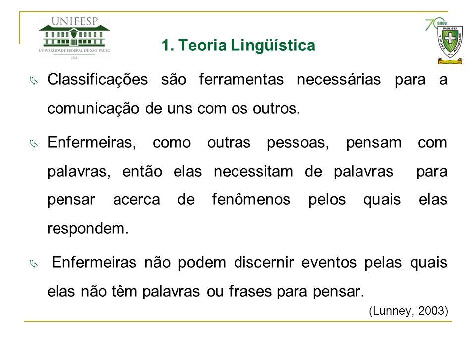 1. Teoria Lingüística Classificações são ferramentas necessárias para a comunicação de uns com os outros. Enfermeiras, como outras pessoas, pensam com