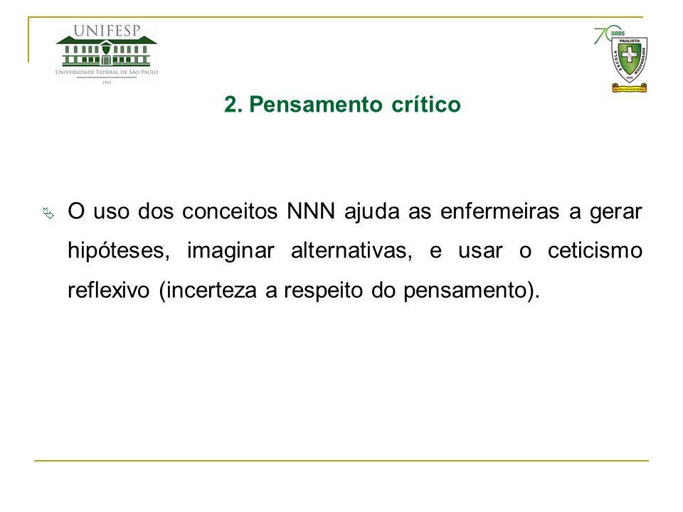 2. Pensamento crítico O uso dos conceitos NNN ajuda as enfermeiras a gerar hipóteses, imaginar alternativas, e usar o ceticismo reflexivo (incerteza a