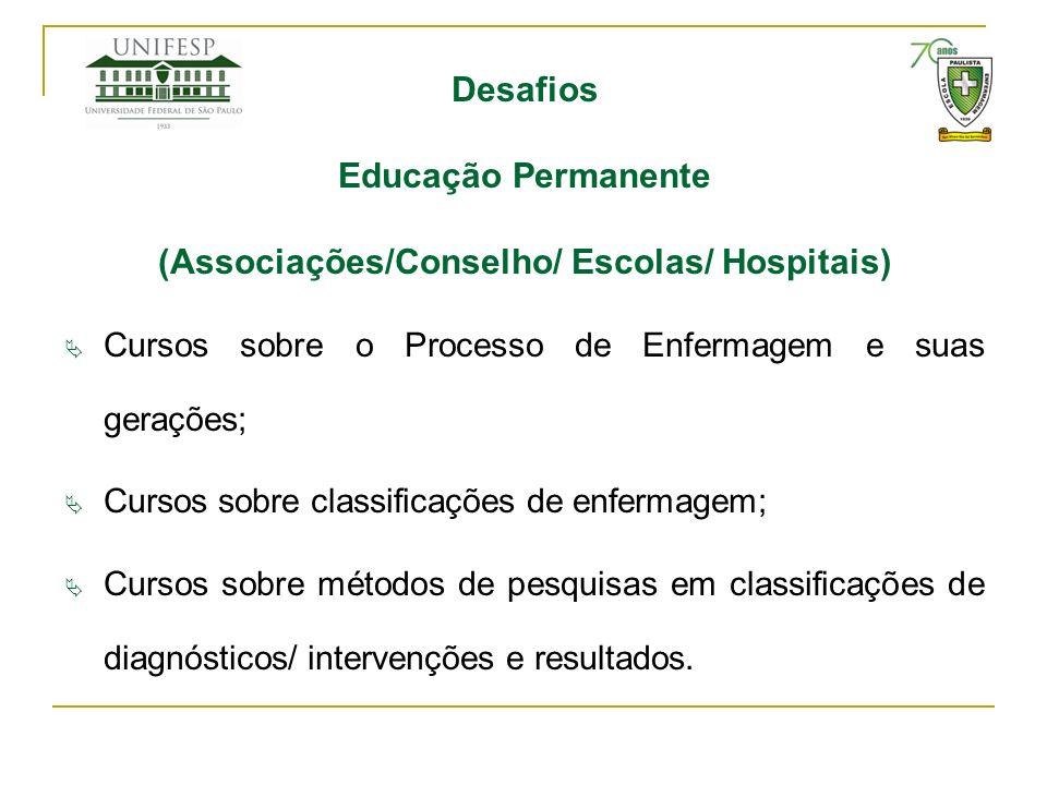 Desafios Educação Permanente (Associações/Conselho/ Escolas/ Hospitais) Cursos sobre o Processo de Enfermagem e suas gerações; Cursos sobre classifica