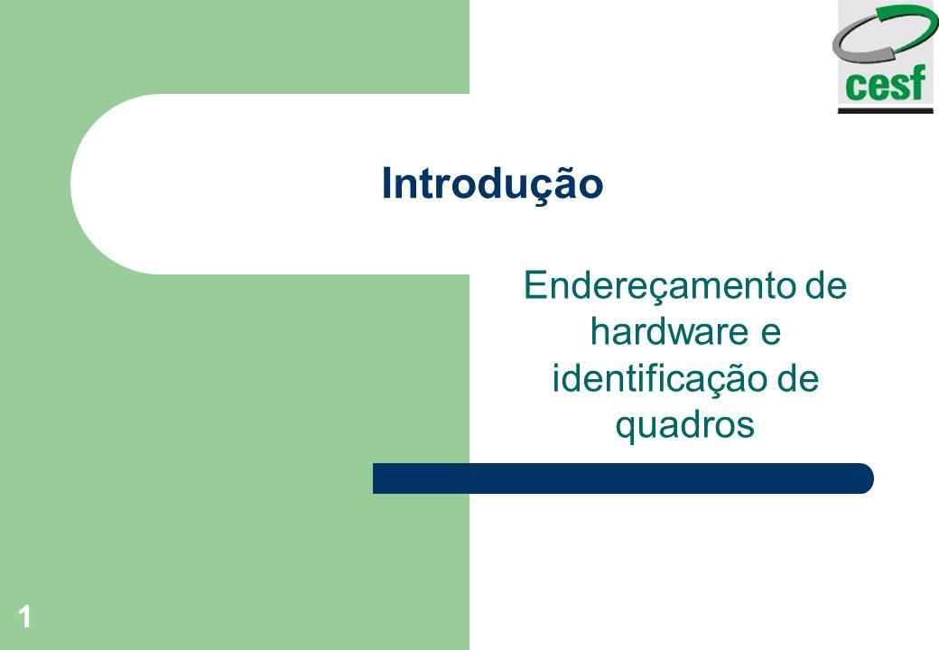 1 Introdução Endereçamento de hardware e identificação de quadros