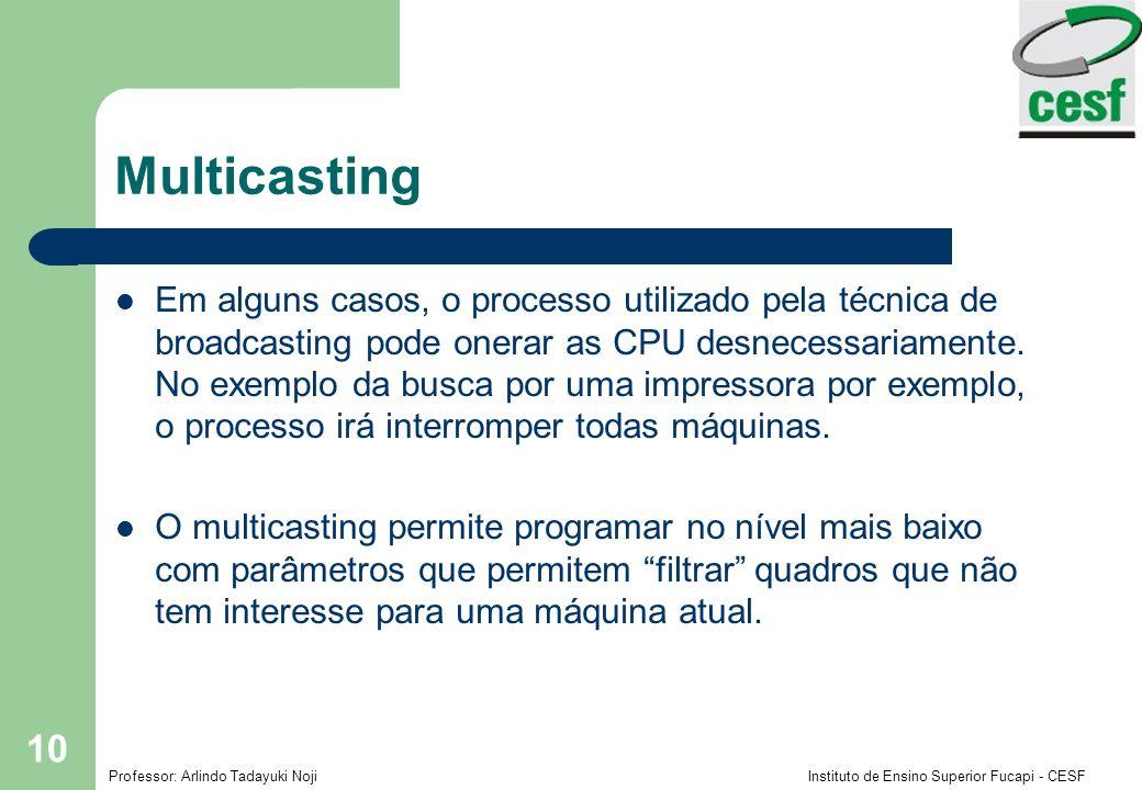 Professor: Arlindo Tadayuki Noji Instituto de Ensino Superior Fucapi - CESF 10 Multicasting Em alguns casos, o processo utilizado pela técnica de broa