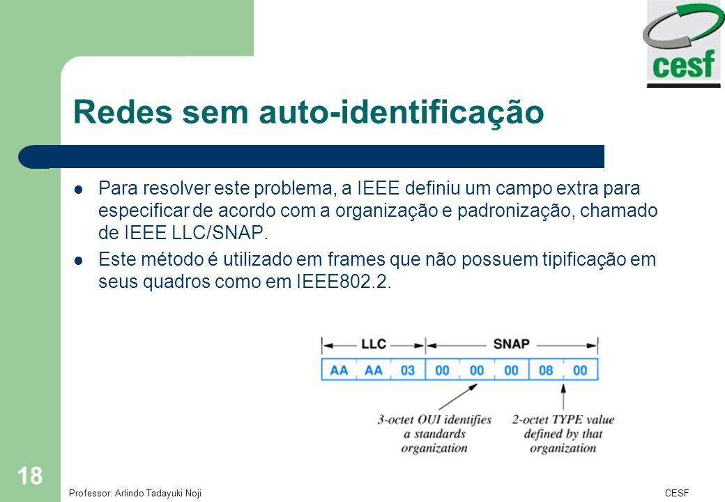 Professor: Arlindo Tadayuki Noji Instituto de Ensino Superior Fucapi - CESF 18 Redes sem auto-identificação Para resolver este problema, a IEEE defini
