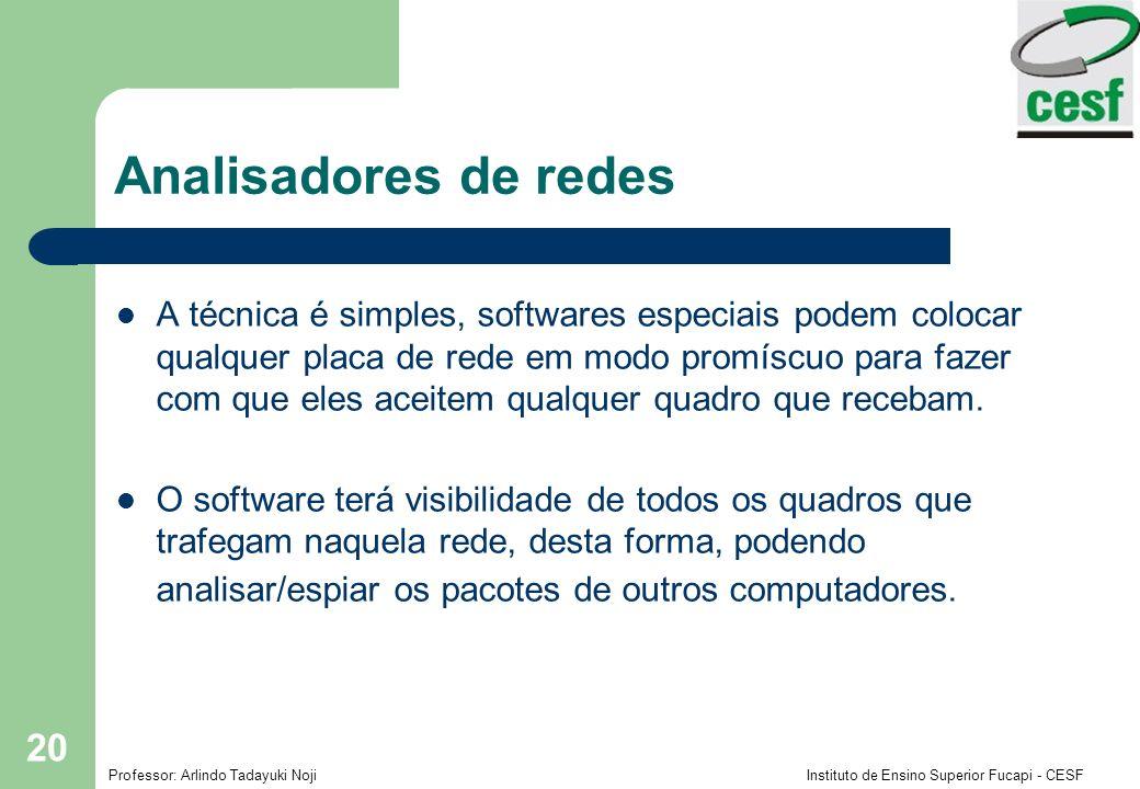Professor: Arlindo Tadayuki Noji Instituto de Ensino Superior Fucapi - CESF 20 Analisadores de redes A técnica é simples, softwares especiais podem co