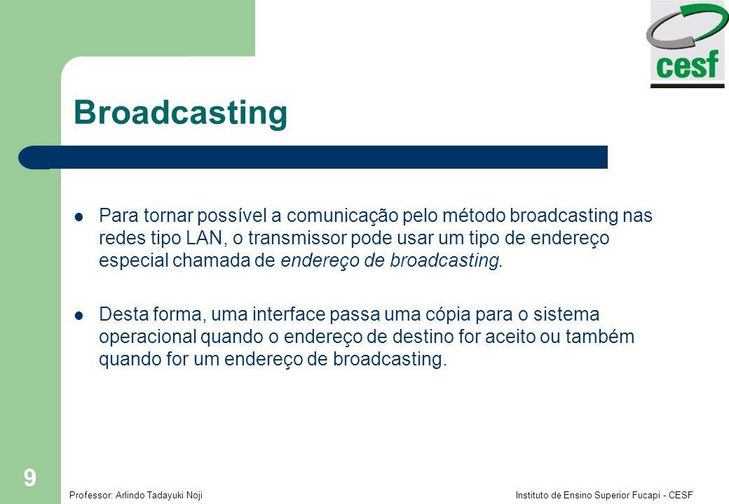 Professor: Arlindo Tadayuki Noji Instituto de Ensino Superior Fucapi - CESF 9 Broadcasting Para tornar possível a comunicação pelo método broadcasting