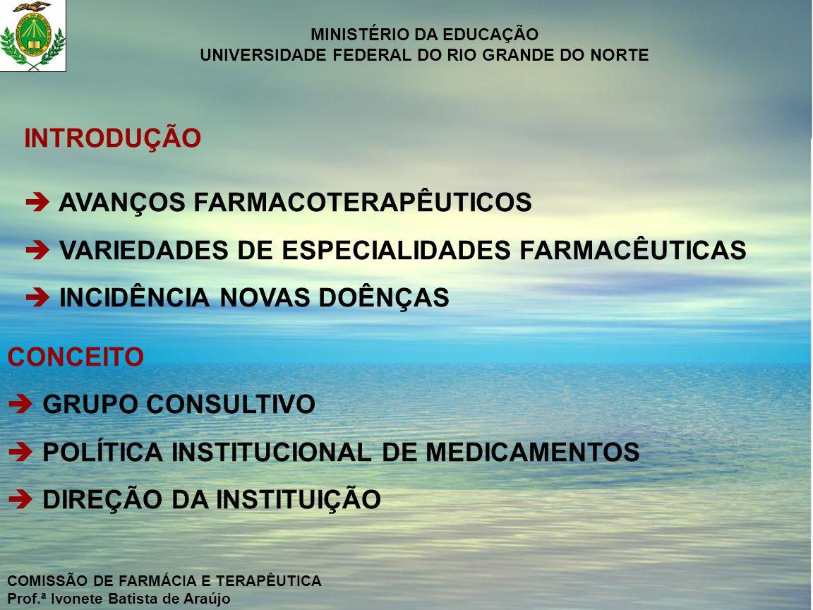 MINISTÉRIO DA EDUCAÇÃO UNIVERSIDADE FEDERAL DO RIO GRANDE DO NORTE COMISSÃO DE FARMÁCIA E TERAPÊUTICA Prof.ª Ivonete Batista de Araújo CONTROLE DE QUALIDADE DA PADRONIZAÇÃO T – S ÍNDICE DE COBERTURA = X 100 T T – C ÍNDICE DE ACEITAÇÃO = X 100 T S = Nº DE VEZES QUE UM MEDICAMENTO NÃO PADRONIZADO FOI PRESCRITO SEM ALTERNATIVA C = Nº DE VEZES QUE UM MEDICAMENTO NÃO PADRONIZADO FOI PRESCRITO COM ALTERNATIVA T = Nº DE VEZES QUE TODOS OS MEDICAMENTOS FORAM PRESCRITOS