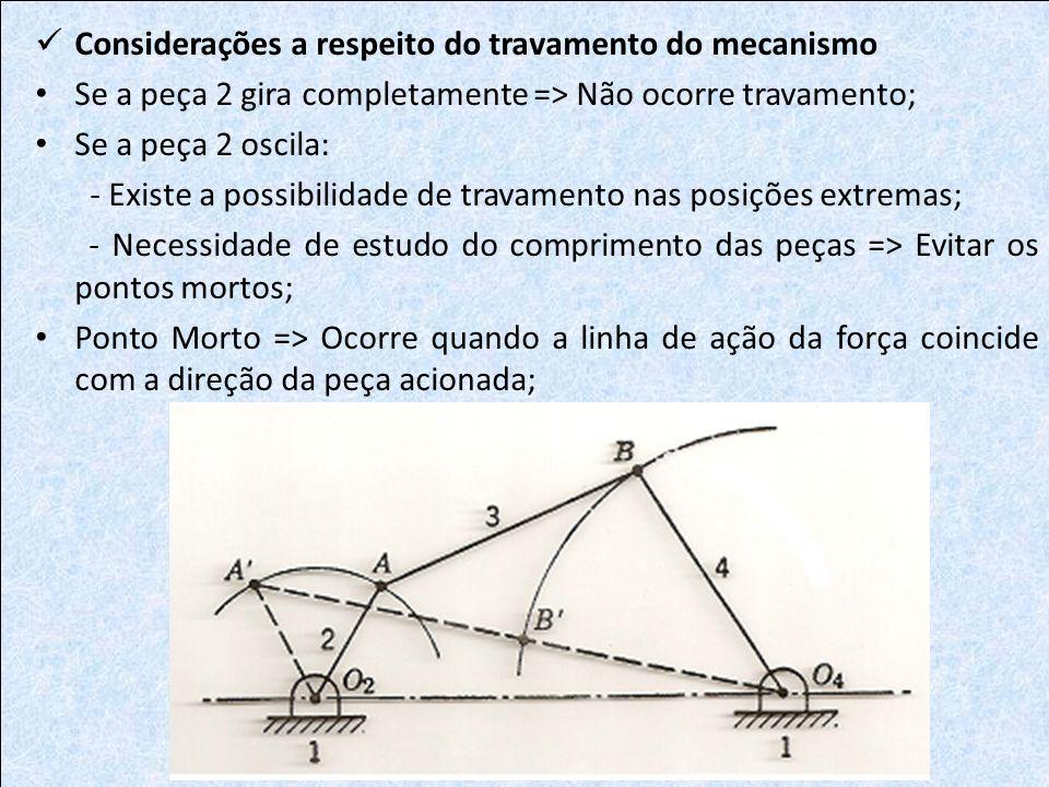 Se a peça 2 gira completamente => Não ocorre travamento; Se a peça 2 oscila: - Existe a possibilidade de travamento nas posições extremas; - Necessida
