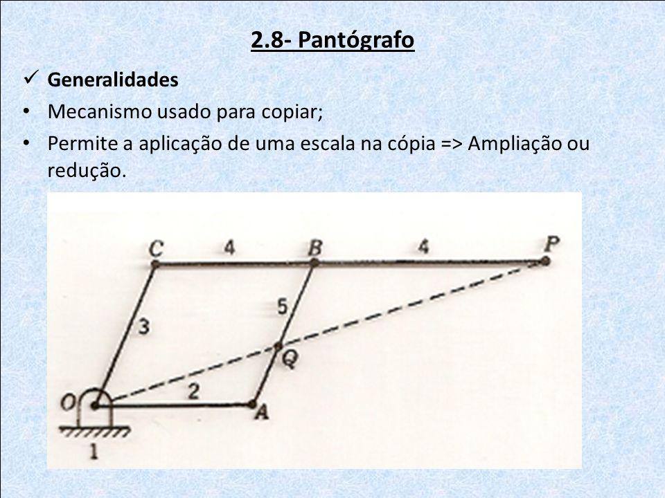 2.8- Pantógrafo Generalidades Mecanismo usado para copiar; Permite a aplicação de uma escala na cópia => Ampliação ou redução.