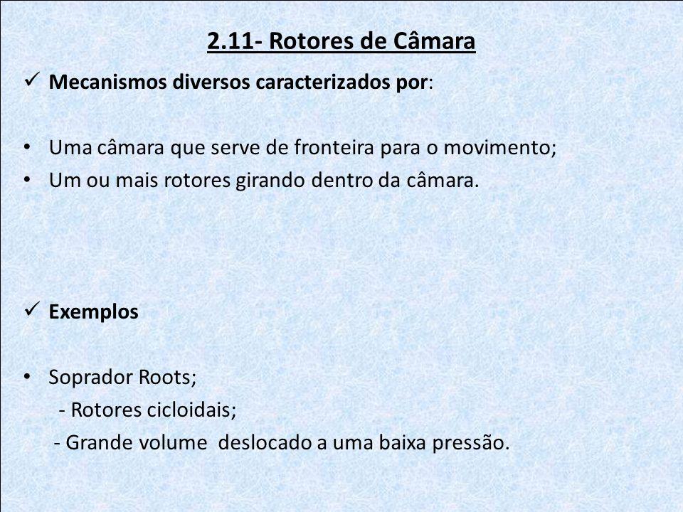 2.11- Rotores de Câmara Mecanismos diversos caracterizados por: Uma câmara que serve de fronteira para o movimento; Um ou mais rotores girando dentro