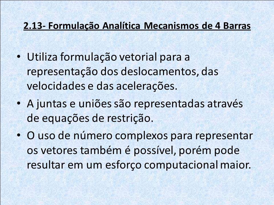 2.13- Formulação Analítica Mecanismos de 4 Barras Utiliza formulação vetorial para a representação dos deslocamentos, das velocidades e das aceleraçõe