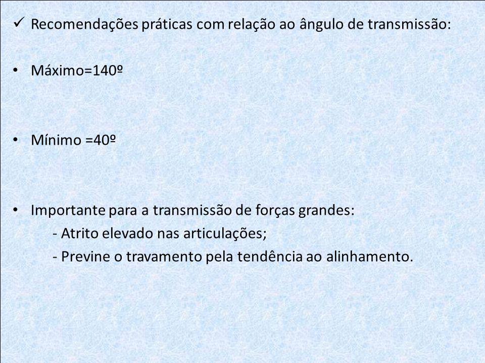 Recomendações práticas com relação ao ângulo de transmissão: Máximo=140º Mínimo =40º Importante para a transmissão de forças grandes: - Atrito elevado
