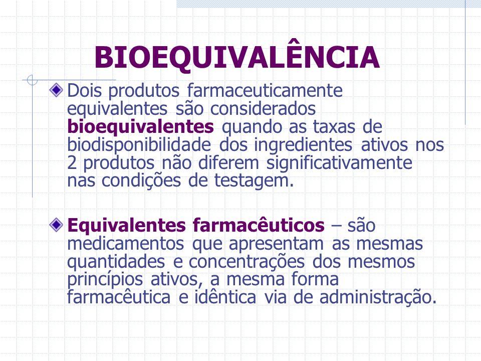BIOEQUIVALÊNCIA A bioequivalência de diferentes formulações da mesma droga envolve a equivalência no que diz respeito à velocidade e à extensão de absorção da droga.