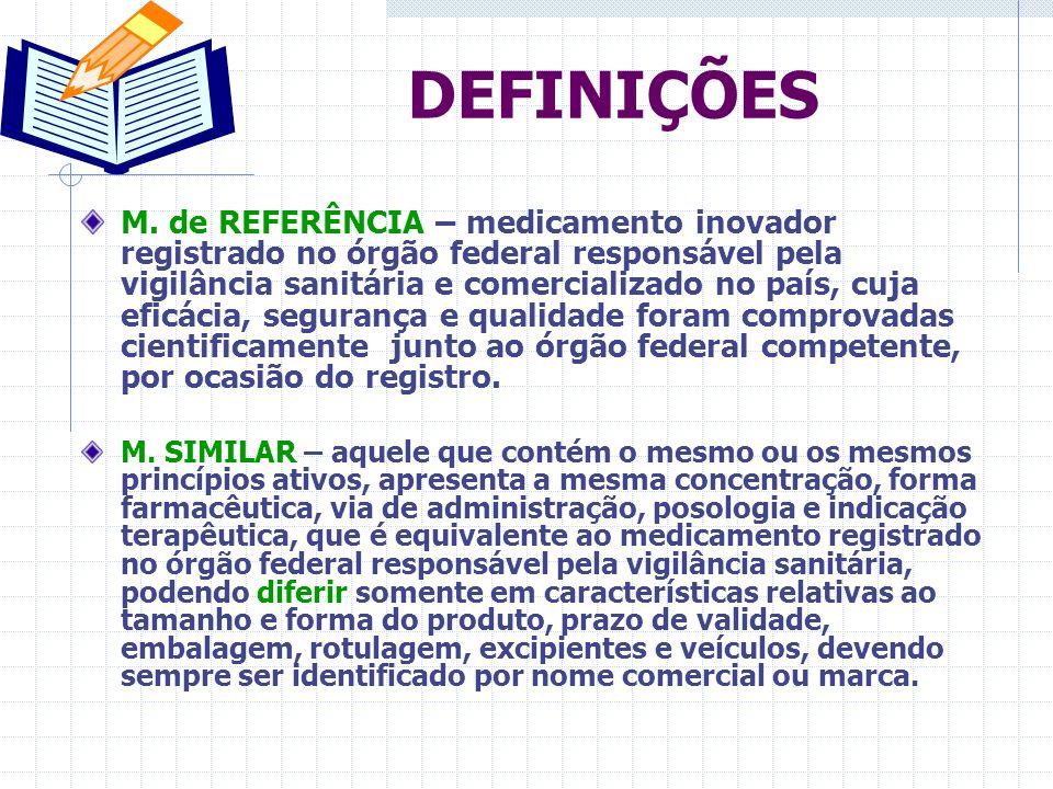 Lei 9.787/99 – Instituiu o Medicamento Genérico no Brasil RDC 10/2001 RDC 84/2002 RDC 135/2003 RDC 16/2007 - Regulamento Técnico para Medicamentos Genéricos Lei 9279 / 96 – Propriedade Industrial Fev.