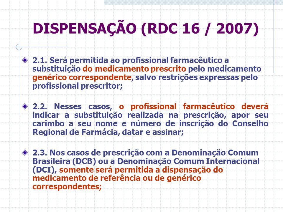 DISPENSAÇÃO (RDC 16 / 2007) 2.4.