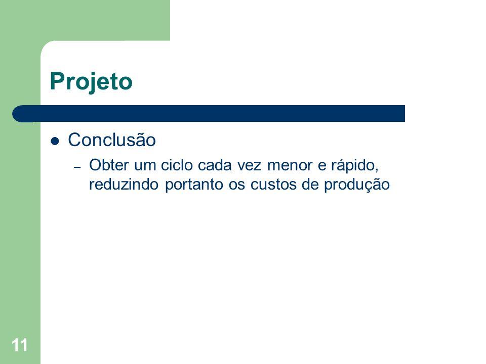 11 Projeto Conclusão – Obter um ciclo cada vez menor e rápido, reduzindo portanto os custos de produção