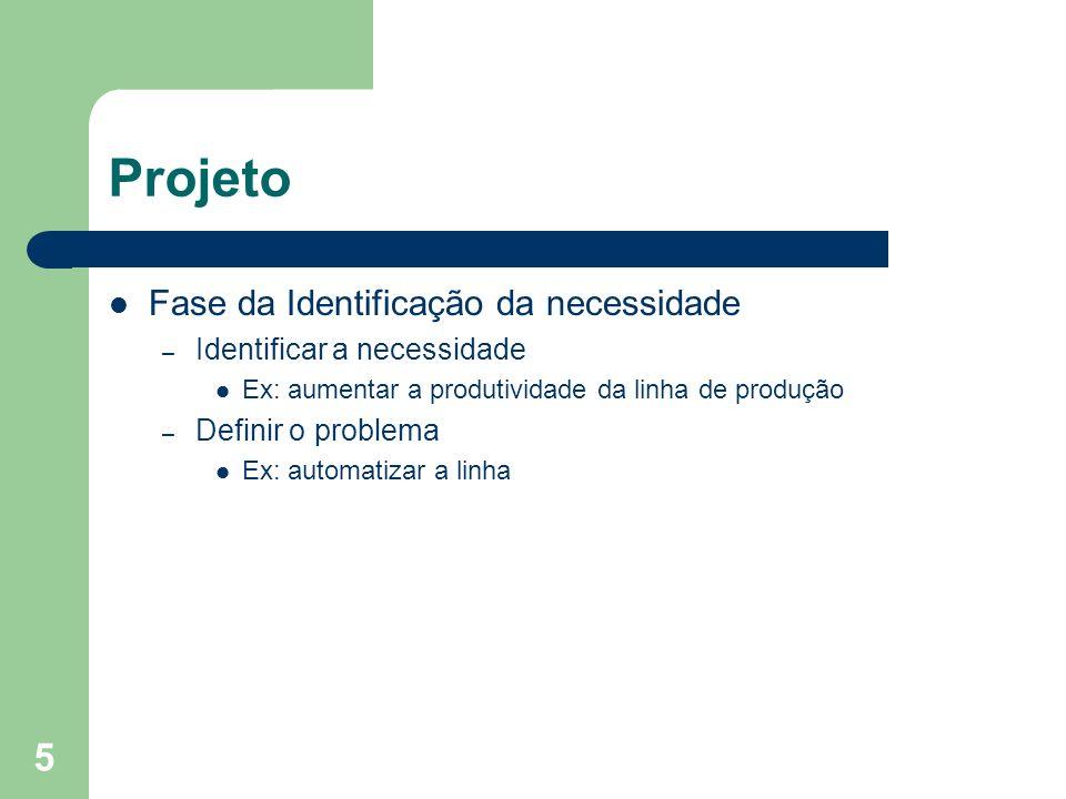 5 Projeto Fase da Identificação da necessidade – Identificar a necessidade Ex: aumentar a produtividade da linha de produção – Definir o problema Ex: