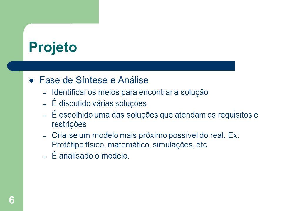 6 Projeto Fase de Síntese e Análise – Identificar os meios para encontrar a solução – É discutido várias soluções – É escolhido uma das soluções que a