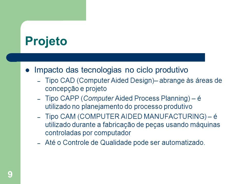 9 Projeto Impacto das tecnologias no ciclo produtivo – Tipo CAD (Computer Aided Design)– abrange às áreas de concepção e projeto – Tipo CAPP (Computer