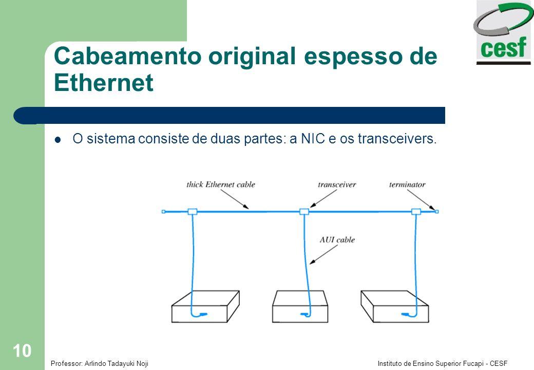 Professor: Arlindo Tadayuki Noji Instituto de Ensino Superior Fucapi - CESF 10 Cabeamento original espesso de Ethernet O sistema consiste de duas part