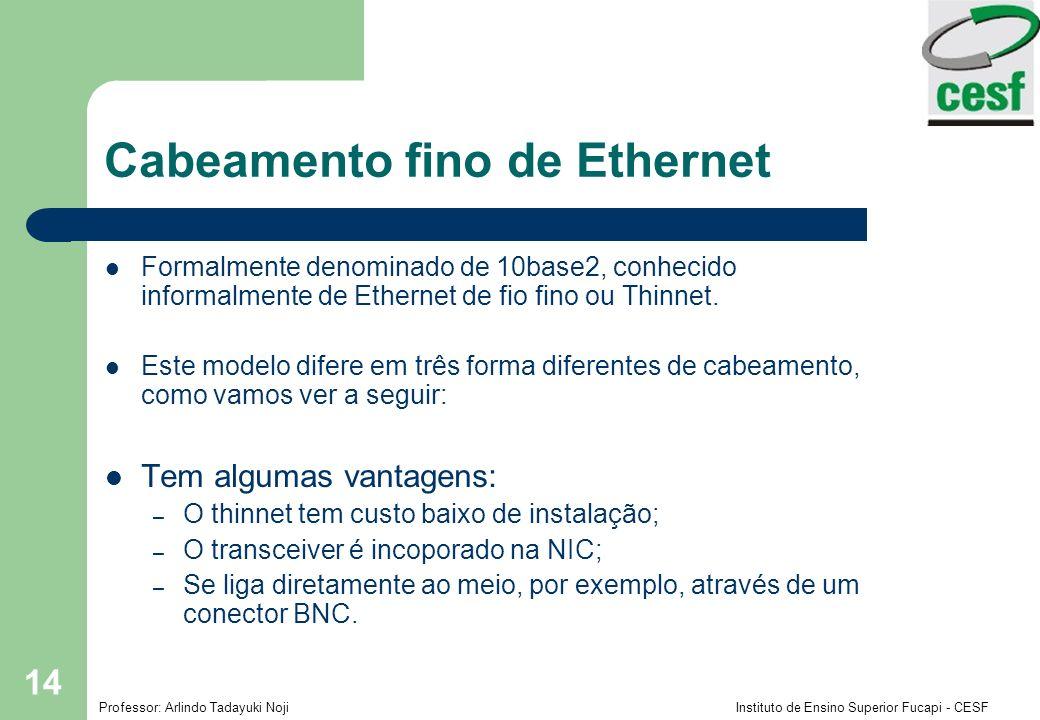 Professor: Arlindo Tadayuki Noji Instituto de Ensino Superior Fucapi - CESF 14 Cabeamento fino de Ethernet Formalmente denominado de 10base2, conhecid