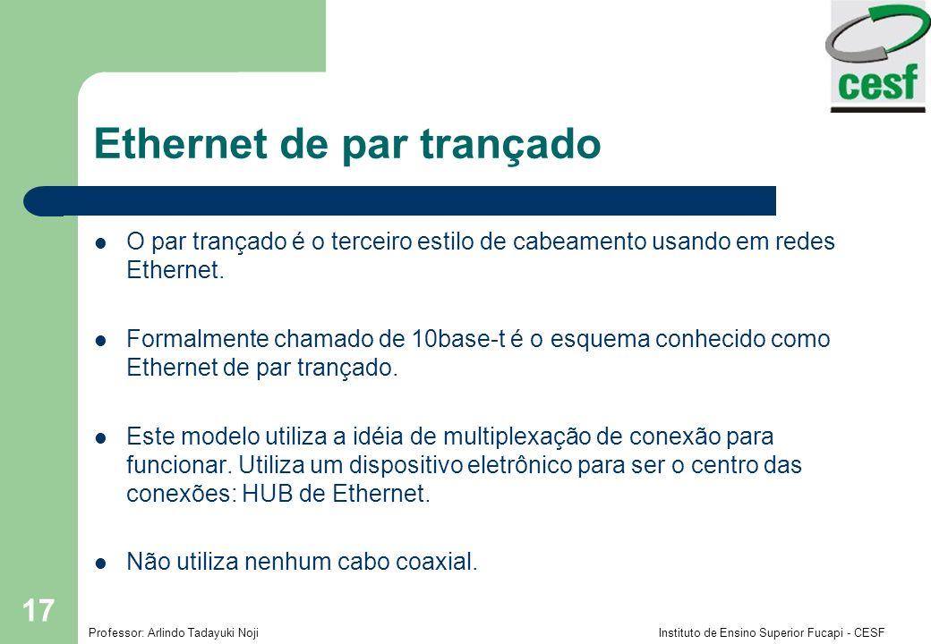 Professor: Arlindo Tadayuki Noji Instituto de Ensino Superior Fucapi - CESF 17 Ethernet de par trançado O par trançado é o terceiro estilo de cabeamen