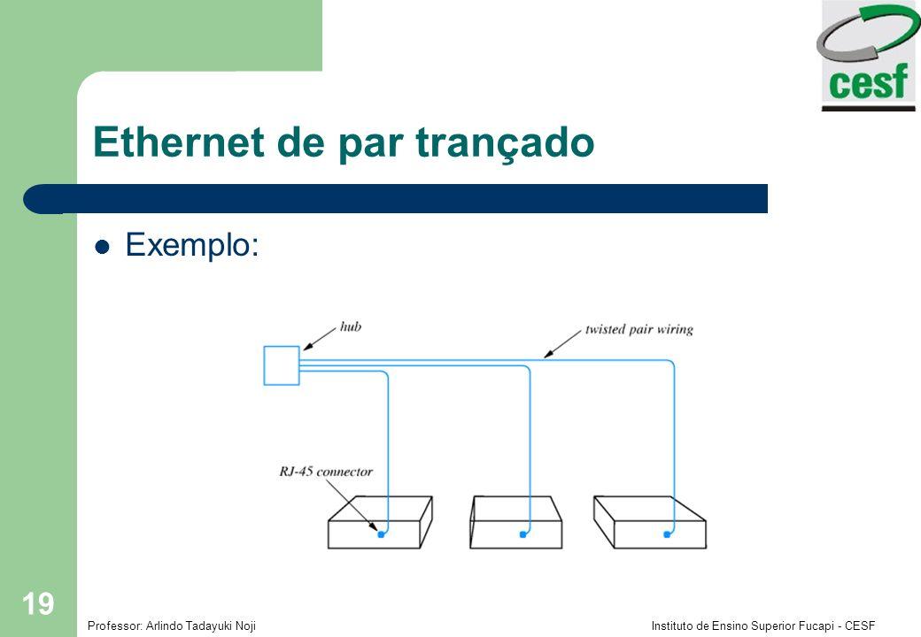 Professor: Arlindo Tadayuki Noji Instituto de Ensino Superior Fucapi - CESF 19 Ethernet de par trançado Exemplo: