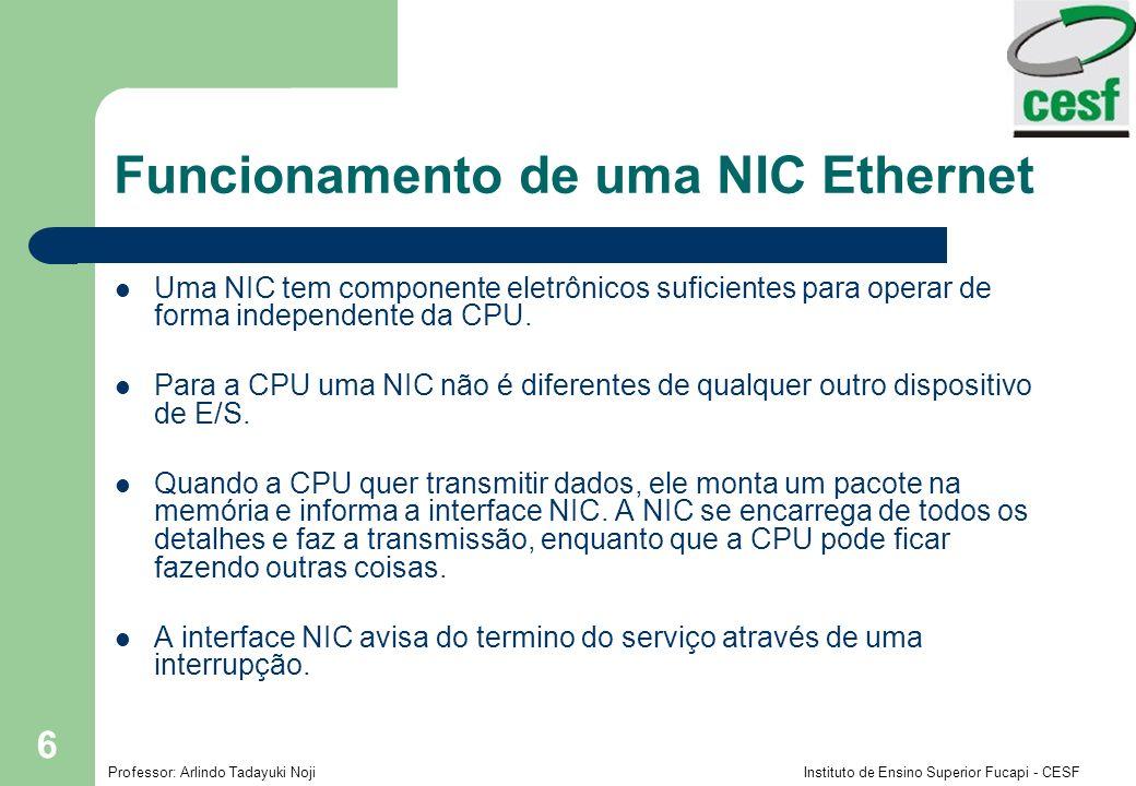 Professor: Arlindo Tadayuki Noji Instituto de Ensino Superior Fucapi - CESF 7 Funcionamento de uma NIC Ethernet Quando uma NIC recebe um pacote de dados, ele verifica o Checksum, o endereço de destino.