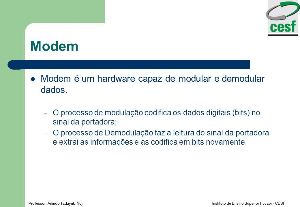 Professor: Arlindo Tadayuki Noji Instituto de Ensino Superior Fucapi - CESF Modem Modem é um hardware capaz de modular e demodular dados. – O processo