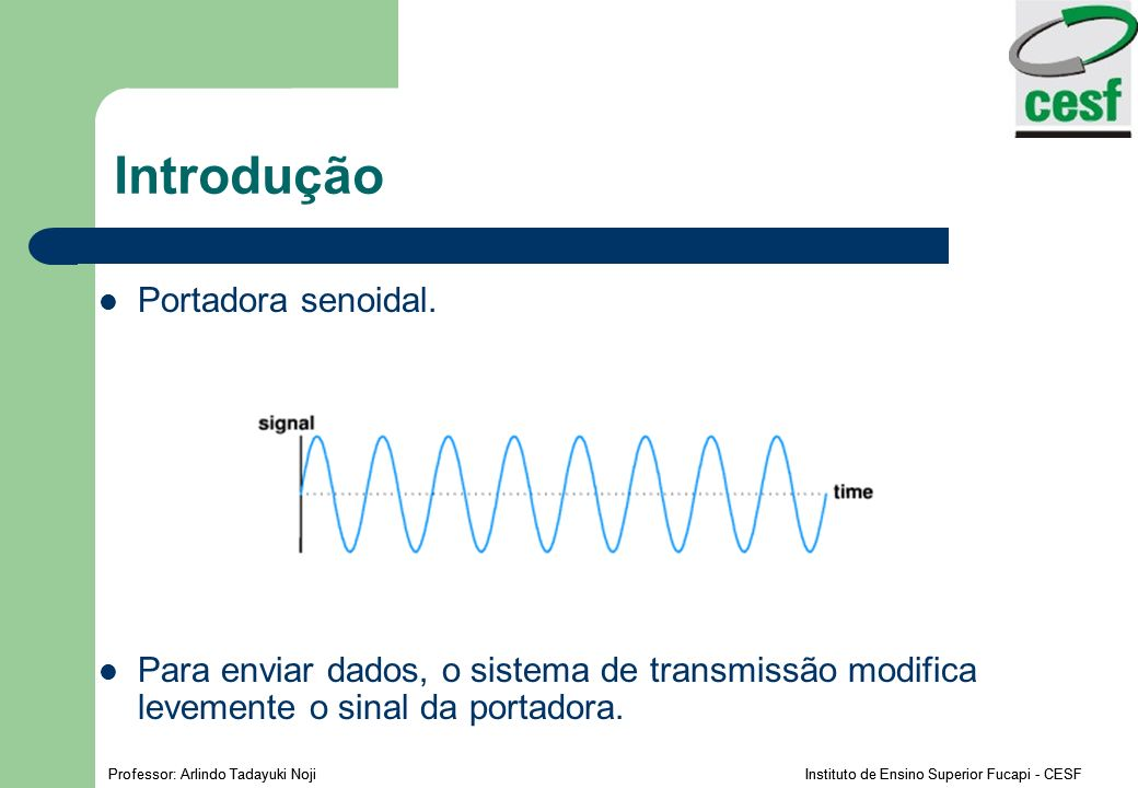 Professor: Arlindo Tadayuki Noji Instituto de Ensino Superior Fucapi - CESF Introdução Portadora senoidal. Para enviar dados, o sistema de transmissão