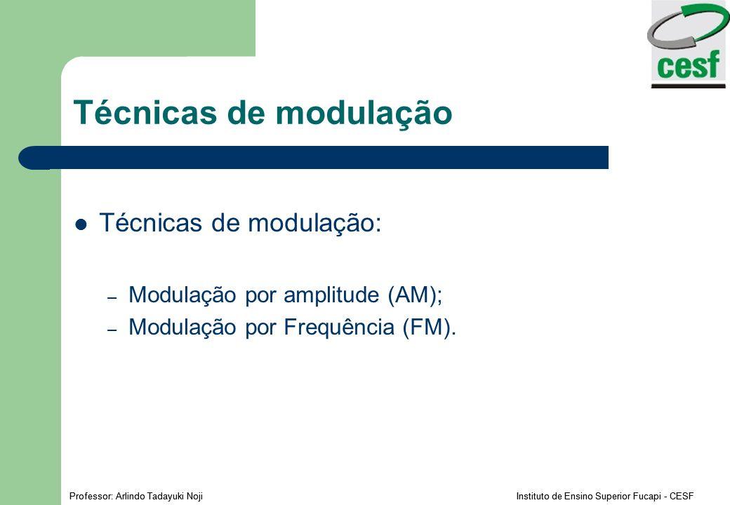 Professor: Arlindo Tadayuki Noji Instituto de Ensino Superior Fucapi - CESF Técnicas de modulação Técnicas de modulação: – Modulação por amplitude (AM