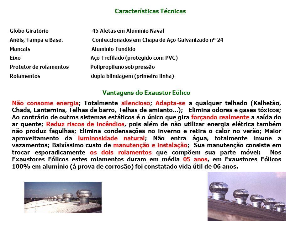 Características Técnicas Globo Giratório 45 Aletas em Alumínio Naval Anéis, Tampa e Base. Confeccionados em Chapa de Aço Galvanizado nº 24 Mancais Alu