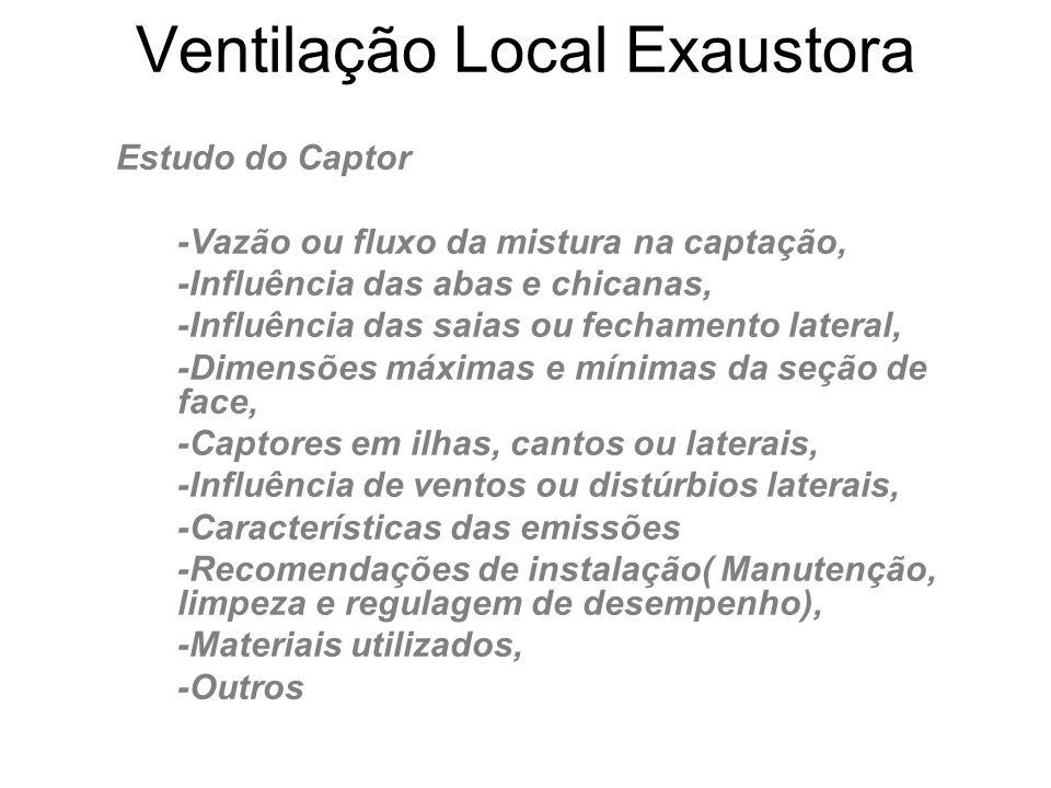 Ventilação Local Exaustora Estudo do Captor -Vazão ou fluxo da mistura na captação, -Influência das abas e chicanas, -Influência das saias ou fechamen