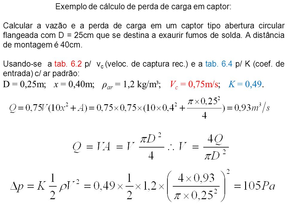 Exemplo de cálculo de perda de carga em captor: Calcular a vazão e a perda de carga em um captor tipo abertura circular flangeada com D = 25cm que se