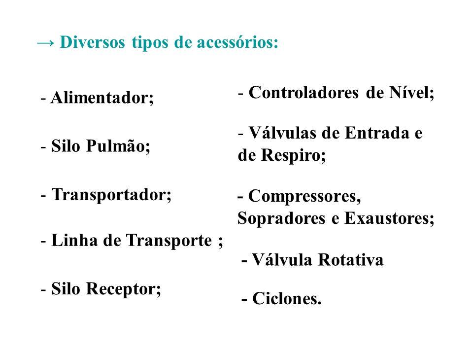 Diversos tipos de acessórios: - Alimentador; - Silo Pulmão; - Transportador; - Linha de Transporte ; - Silo Receptor; - Controladores de Nível; - Válv