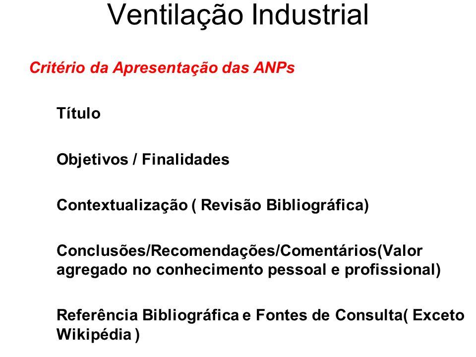 Ventilação Industrial Critério da Apresentação das ANPs Título Objetivos / Finalidades Contextualização ( Revisão Bibliográfica) Conclusões/Recomendaç
