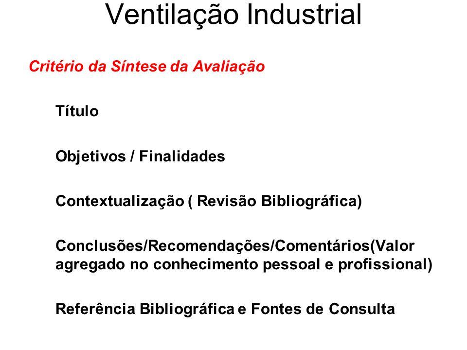 Ventilação Industrial Critério da Síntese da Avaliação Título Objetivos / Finalidades Contextualização ( Revisão Bibliográfica) Conclusões/Recomendaçõ